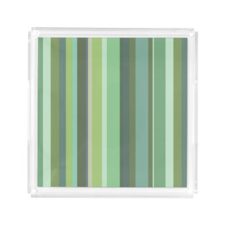 Olive green horizontal stripes acrylic tray