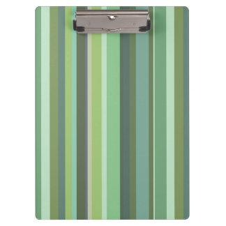 Olive green horizontal stripes clipboard