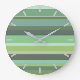 Olive green horizontal stripes large clock