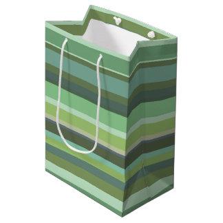 Olive green horizontal stripes medium gift bag