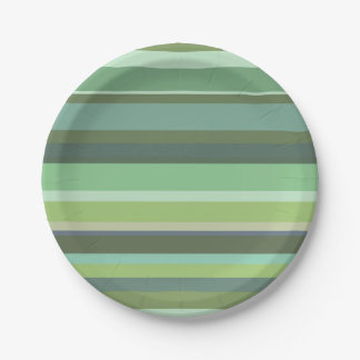Olive green horizontal stripes paper plate