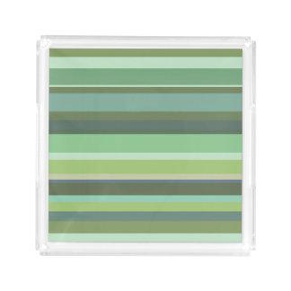 Olive green horizontal stripes perfume tray