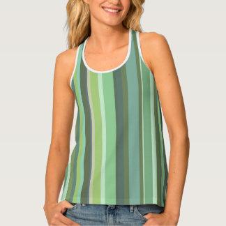 Olive green horizontal stripes tank top