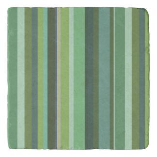 Olive green horizontal stripes trivet