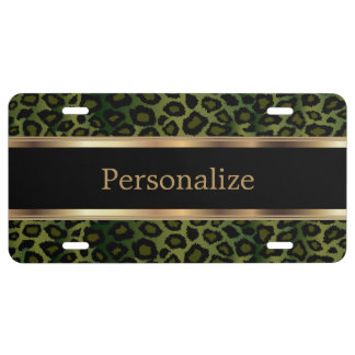 Olive Green Leopard Animal Print | Personalize License Plate