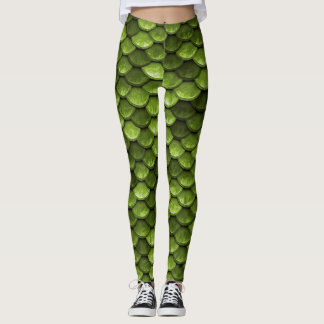 Olive Green Mermaid Scales Leggings