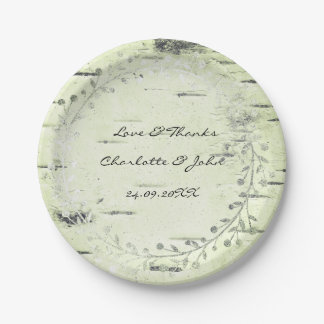 Olive Green Mint Cottage Birch Wreath Garland Paper Plate