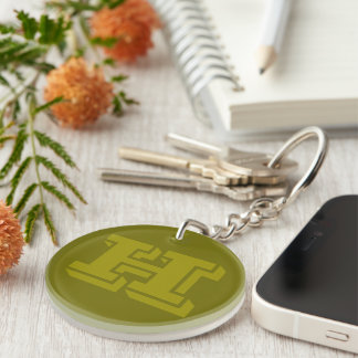 Olive Green Monogrammed Custom Initial Monogram H Double-Sided Round Acrylic Keychain