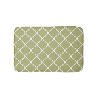 Olive Green Moroccan Lattice Pattern Bath Mat