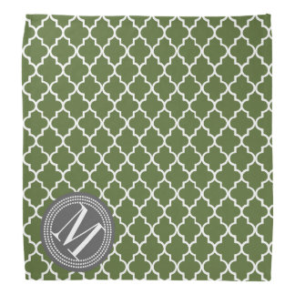 Olive Green Moroccan Lattice Personalized Bandana