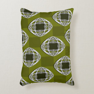 Olive Green Nouveau Checked Pattern Accent Pillow