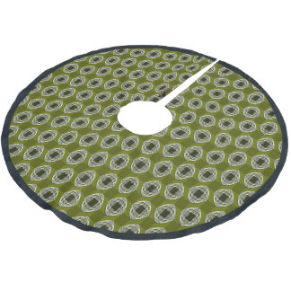 Olive Green Nouveau Checked Pattern Brushed Polyester Tree Skirt
