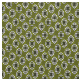 Olive Green Nouveau Checked Pattern Fabric