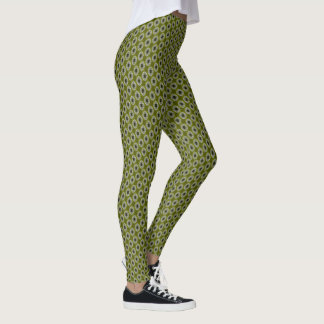 Olive Green Nouveau Checked Pattern Leggings