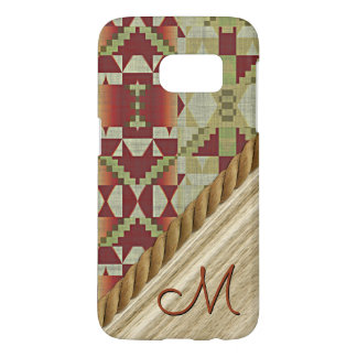 Olive Green Ochre Brown Red Tribal Mosaic Pattern Samsung Galaxy S7 Case