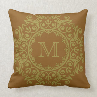 Olive Green on Caramel Scroll Wreath Monogram Throw Pillow