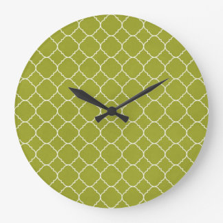 Olive green pattern large clock