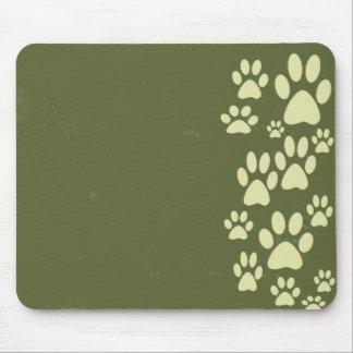 Olive Green Paws Mouse Pad