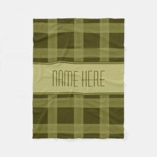 Olive Green Plaid   Custom Name Fleece Blanket