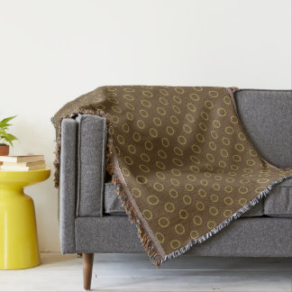 Olive Green Rings on Chocolate Brown Throw Blanket