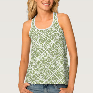 Olive green scrollwork pattern tank top