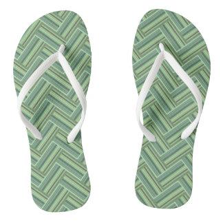 Olive green stripes double weave flip flops