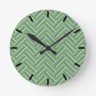 Olive green stripes double weave round clock