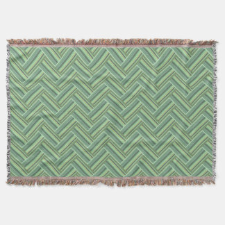 Olive green stripes double weave throw