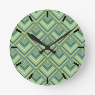 Olive green stripes scale pattern round clock