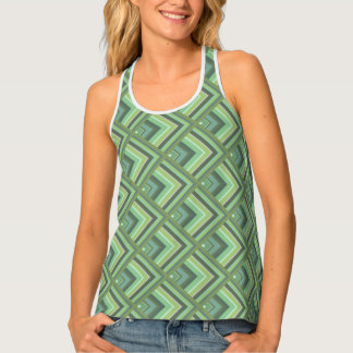 Olive green stripes scale pattern tank top