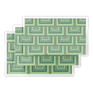 Olive green stripes square scales pattern serving tray