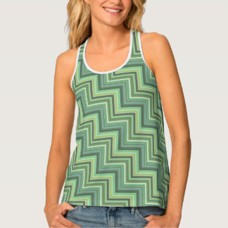 Olive green stripes stairs pattern tank top