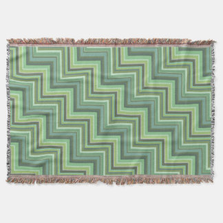 Olive green stripes stairs pattern throw blanket