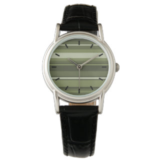 Olive green stripes watch