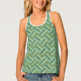Olive green stripes weave tank top