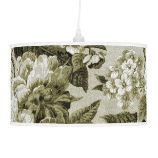 Olive Green Tone Vintage Botanical Floral Toile Pendant Lamp