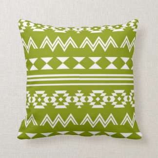 Olive Green Tribal Pattern Decorative Pillow