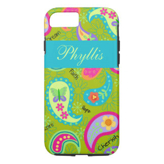 Olive Green Turquoise Modern Paisley Name iPhone 8/7 Case