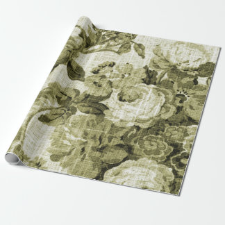 Olive Green Vintage Floral Toile Fabric No.4