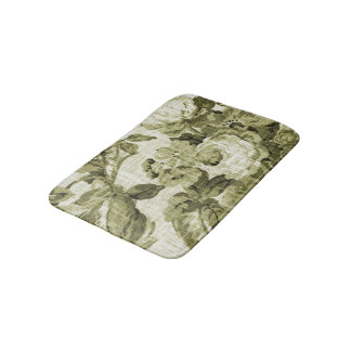 Olive Green Vintage Floral Toile No.4 Bath Mat