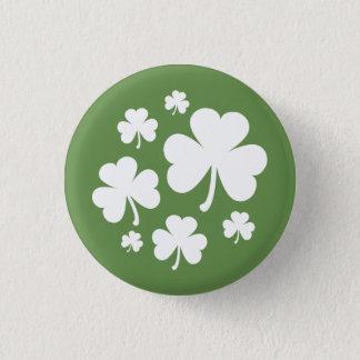 Olive Green w/ White Shamrocks Irish Pride 1 Inch Round Button