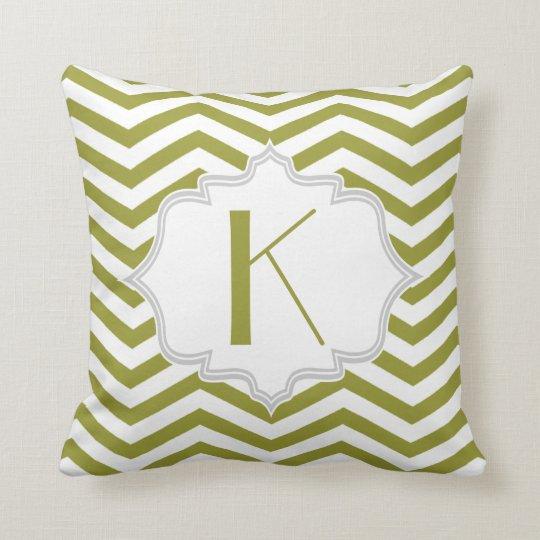 Olive green, white chevron zigzag pattern throw pillow