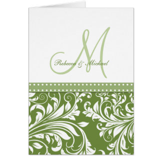 Olive Green & White Flora Damask Thank You! Card