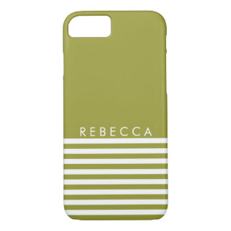 Olive Green, White Striped Personalized iPhone 7 Case