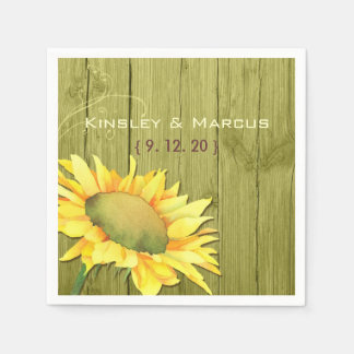 Olive Green Wood Rustic Sunflower Wedding Paper Napkin