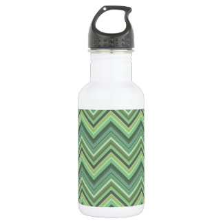 Olive green zigzag stripes 532 ml water bottle