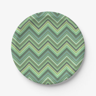 Olive green zigzag stripes 7 inch paper plate