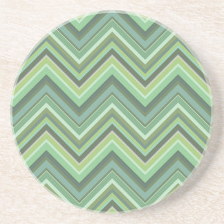 Olive green zigzag stripes coaster