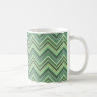 Olive green zigzag stripes coffee mug