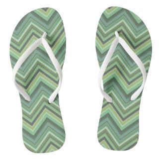 Olive green zigzag stripes flip flops